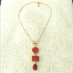 Gold Necklace with Drop Down Stones